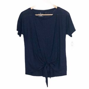 Talbots Linen Tie Front Knot Knit Top Navy Blue S